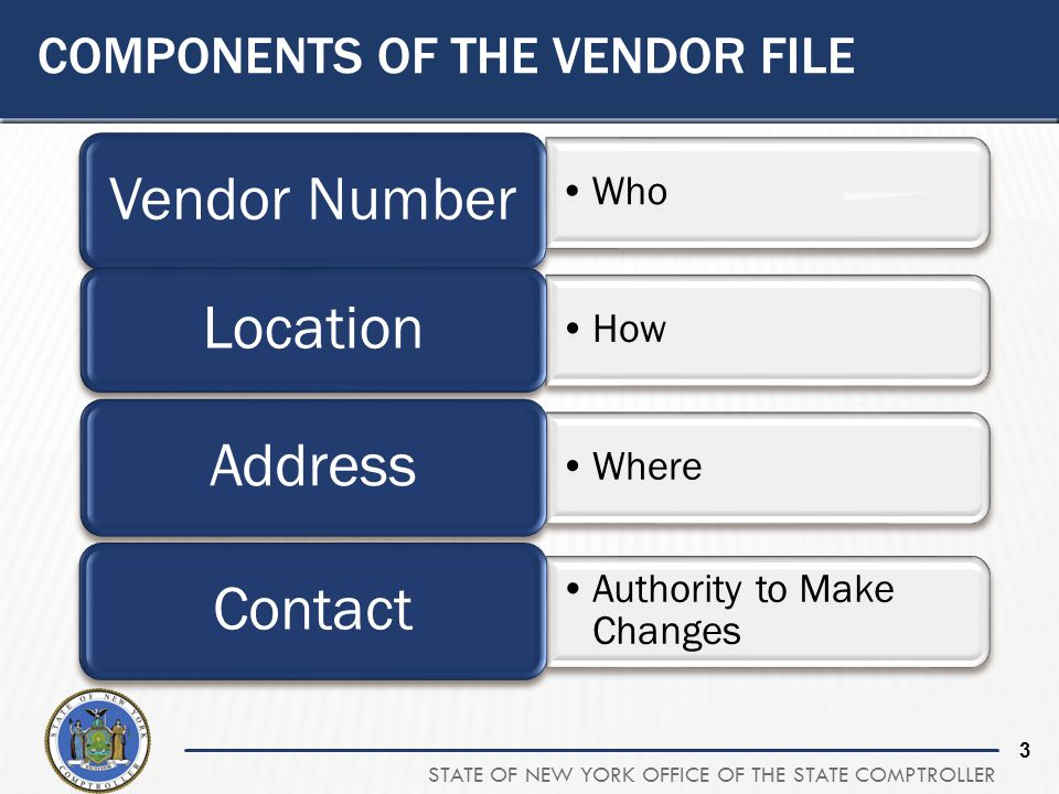 Components of the Vendor File
