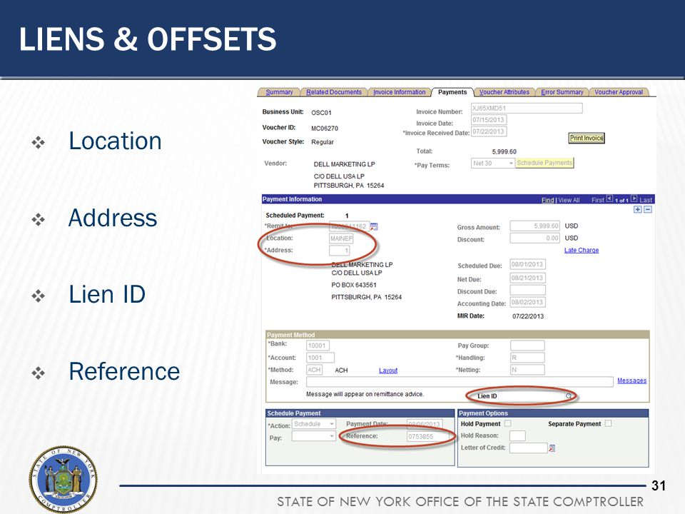Liens & offsets Location Address Lien ID Reference