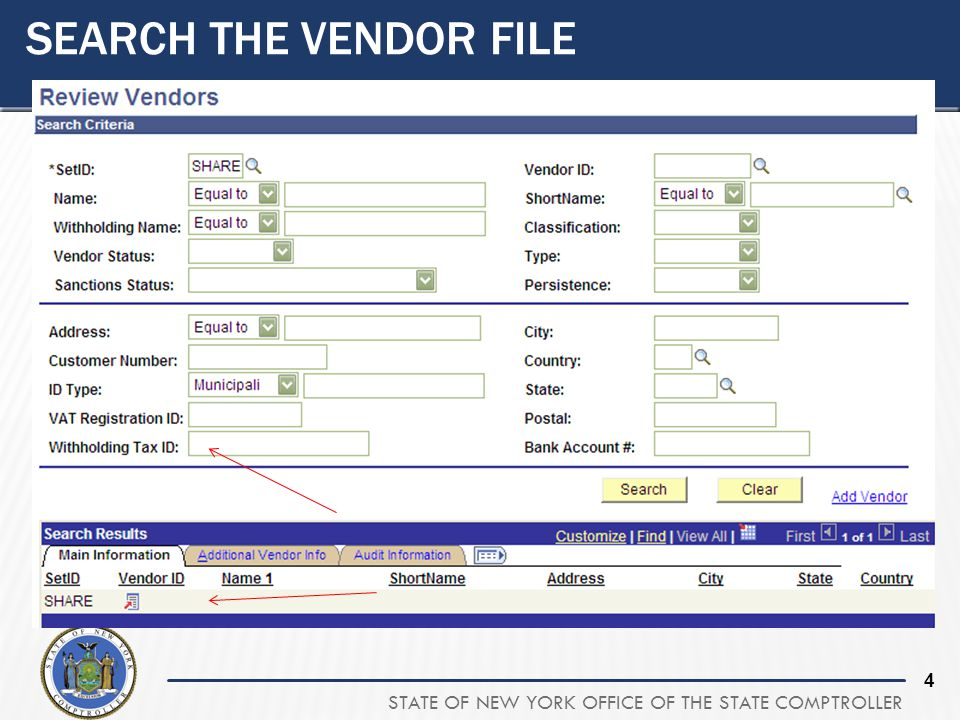 Search the Vendor File