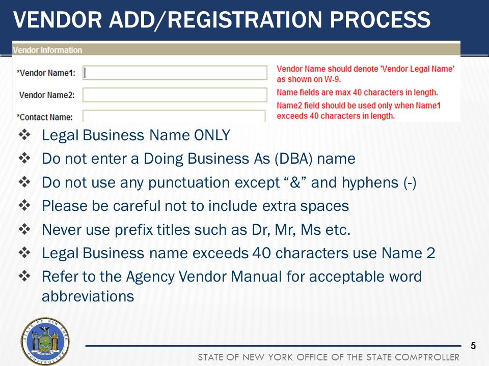 Vendor Add/Registration process