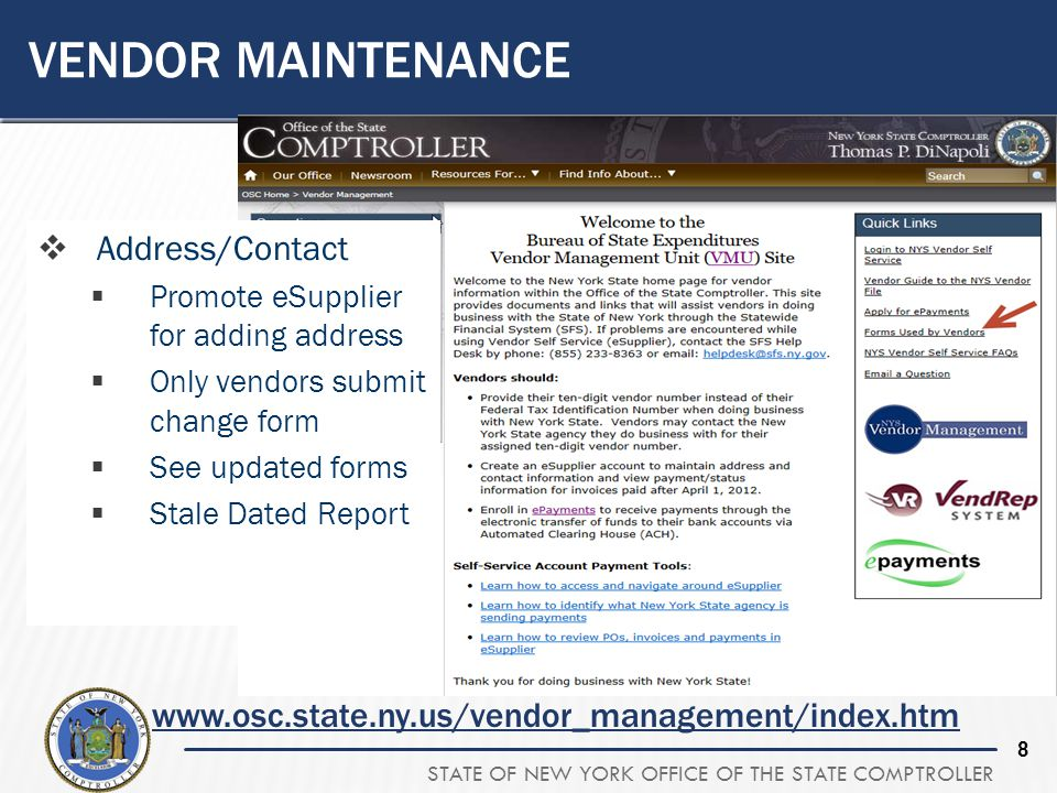 Vendor Maintenance Address/Contact