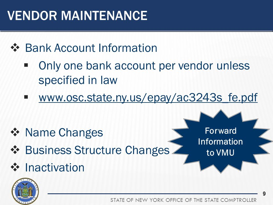 Vendor Maintenance Bank Account Information