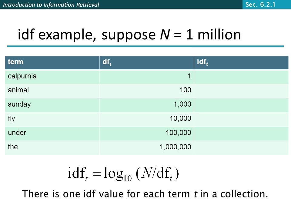 idf example, suppose N = 1 million