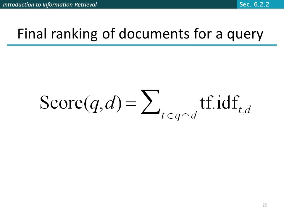 Final ranking of documents for a query
