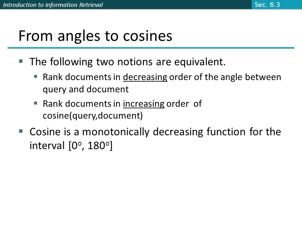 From angles to cosines The following two notions are equivalent.