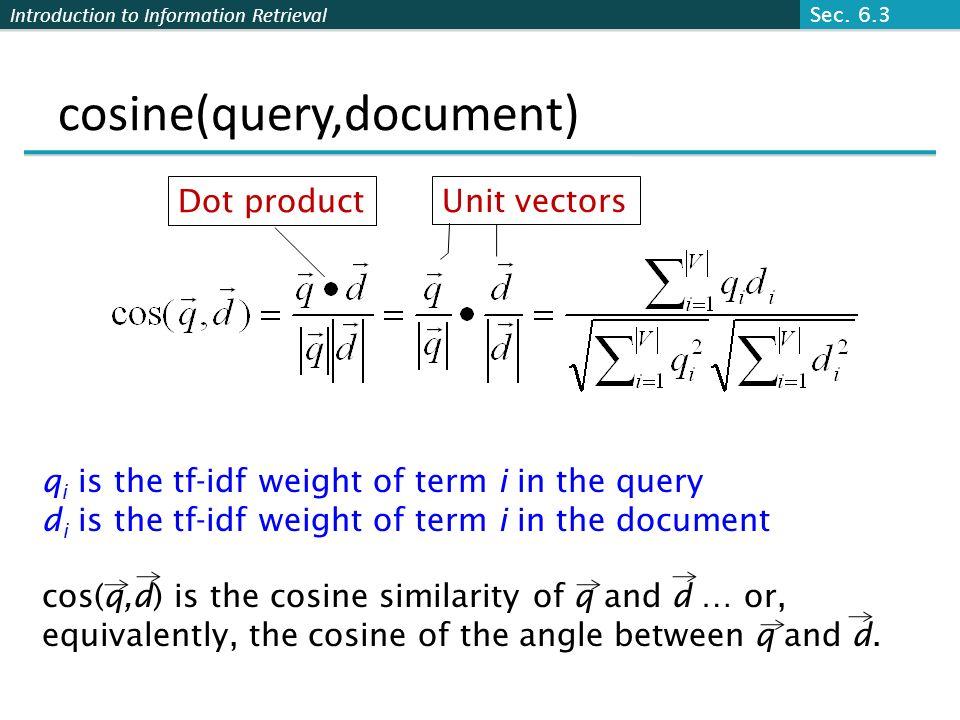 cosine(query,document)