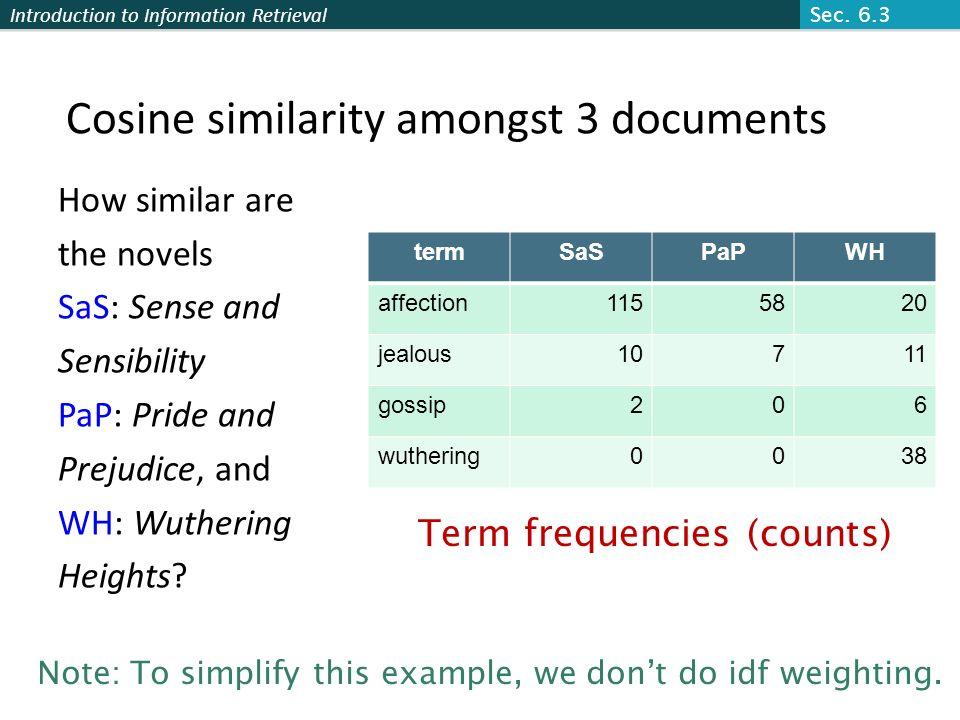 Cosine similarity amongst 3 documents