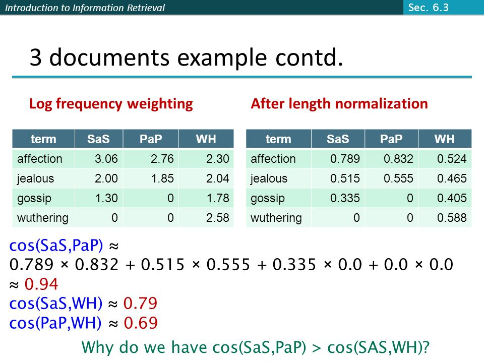 3 documents example contd.