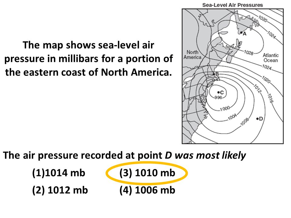 The map shows sea-level air pressure in millibars for a portion of the eastern coast of North America.