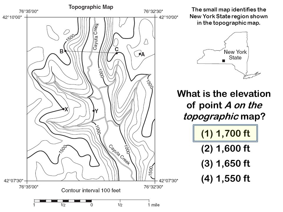 What is the elevation of point A on the topographic map
