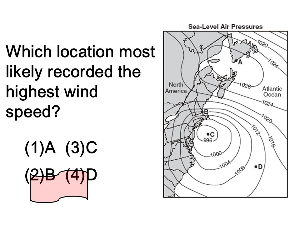 Which location most likely recorded the highest wind speed