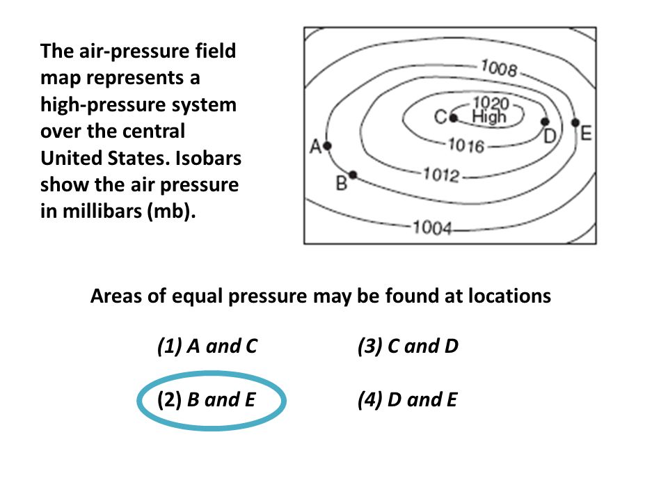 The air-pressure field map represents a high-pressure system over the central United States. Isobars show the air pressure in millibars (mb).