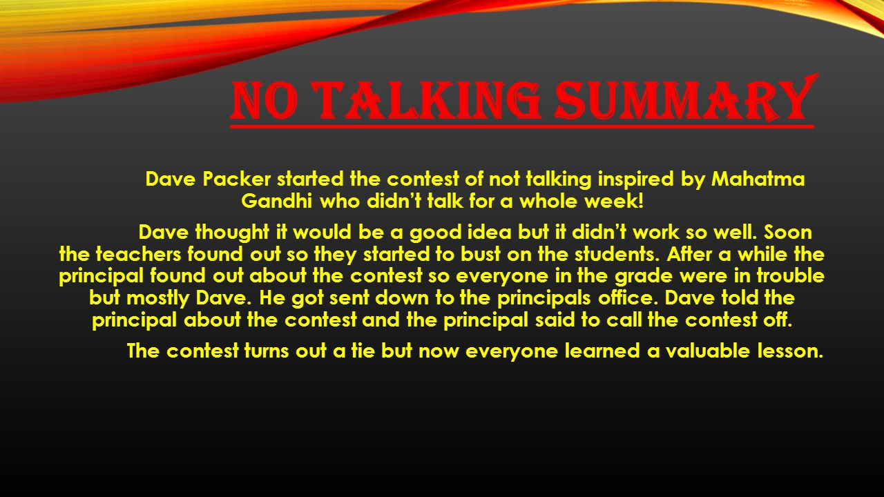 No Talking summary