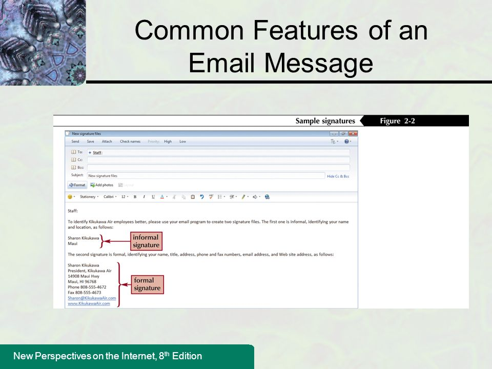 Common Features of an Email Message