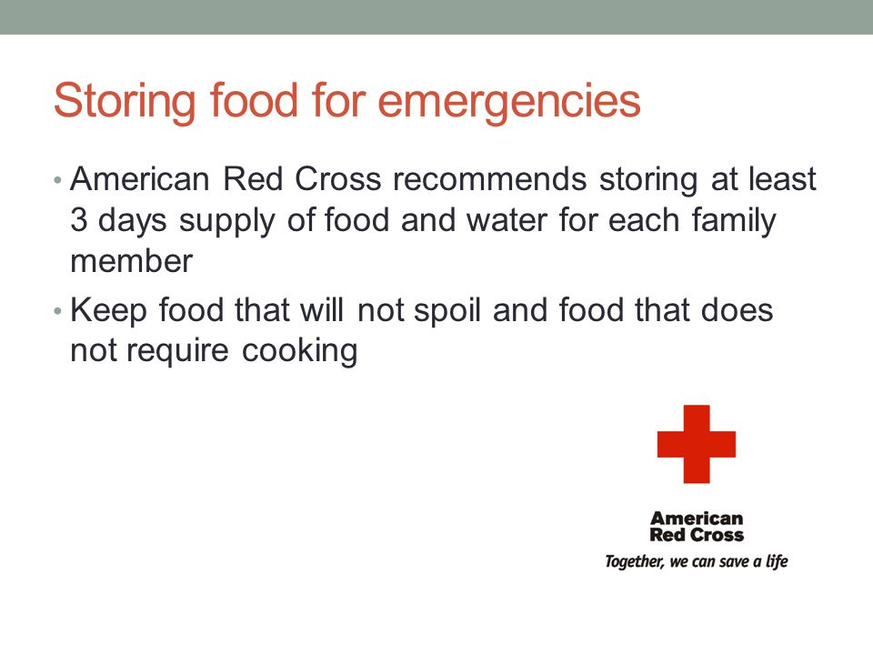 Storing food for emergencies