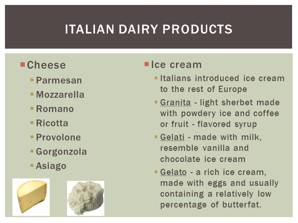 Italian dairy products