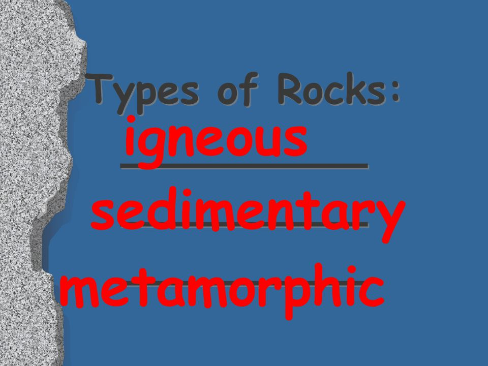 Types of Rocks: ________ ________ ________
