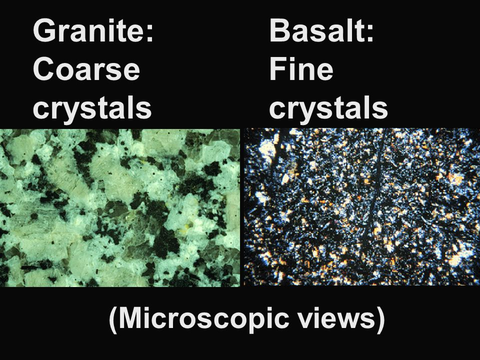 Granite: Coarse crystals Basalt: Fine crystals (Microscopic views)