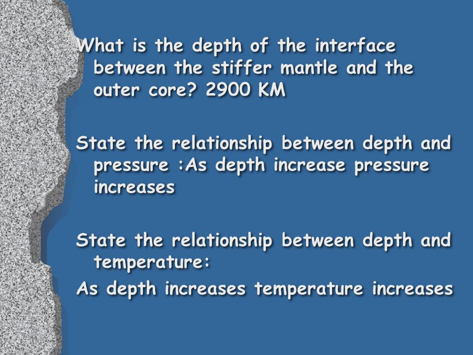 What is the depth of the interface between the stiffer mantle and the outer core.