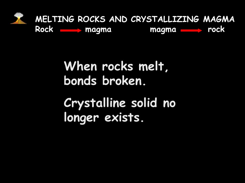 When rocks melt, bonds broken. Crystalline solid no longer exists.