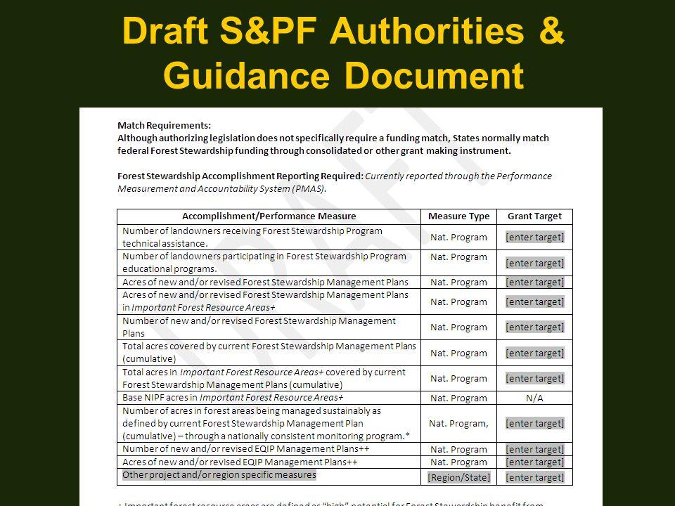 Draft S&PF Authorities & Guidance Document