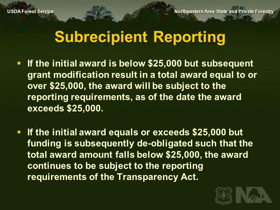 Subrecipient Reporting