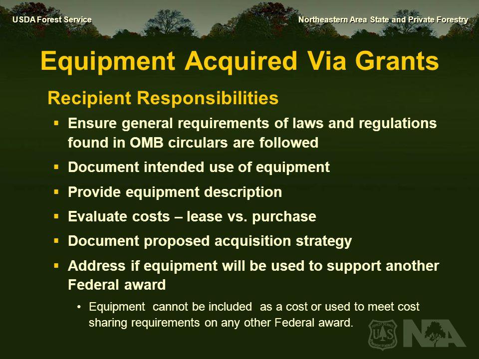 Equipment Acquired Via Grants
