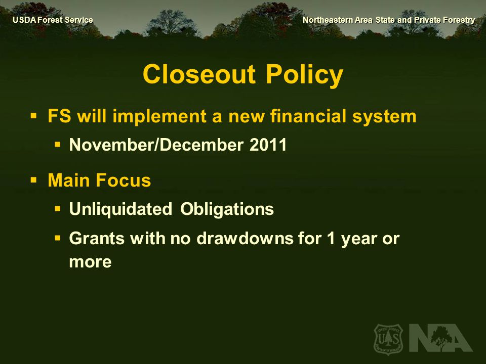 Closeout Policy FS will implement a new financial system Main Focus
