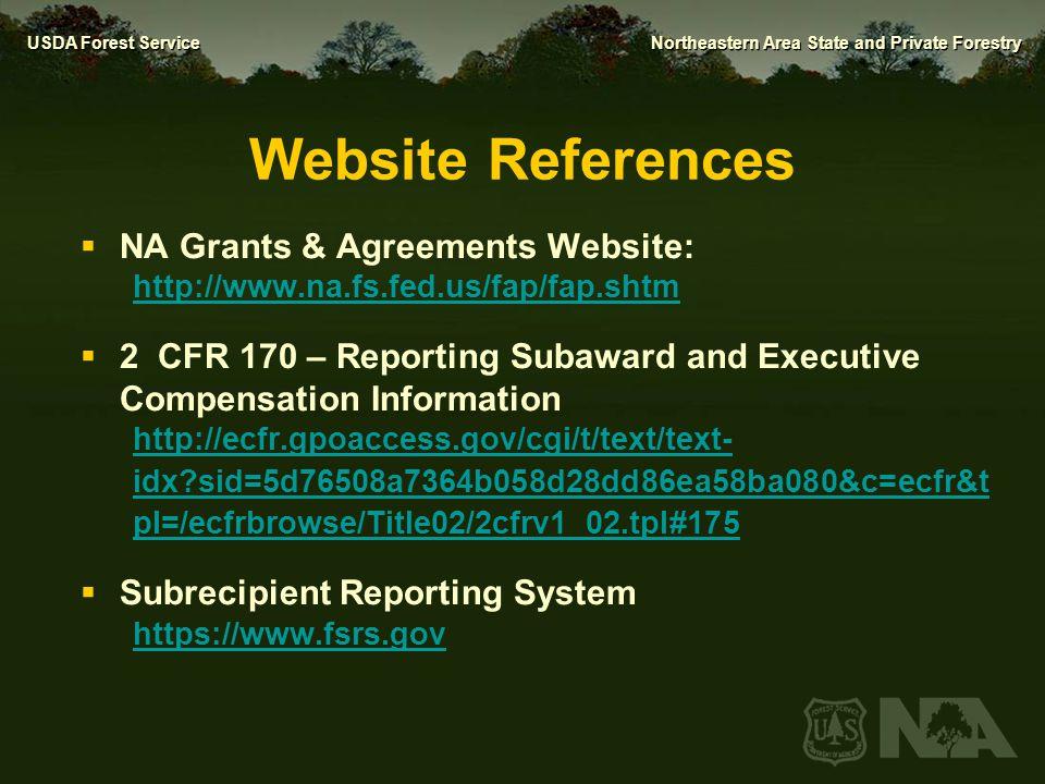 Website References NA Grants & Agreements Website: