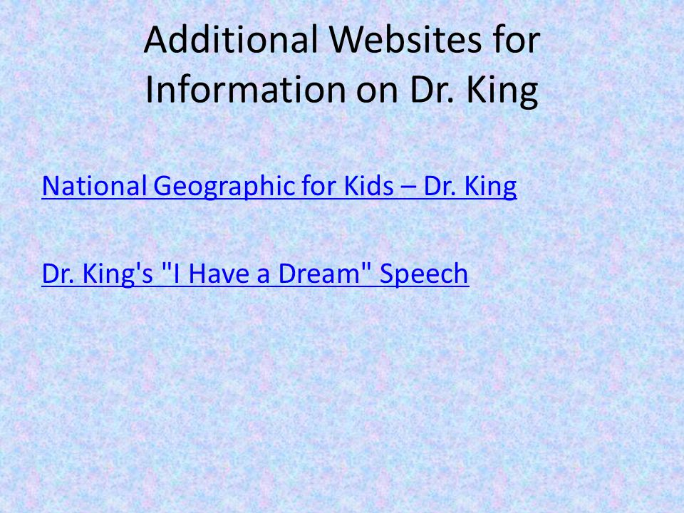 Additional Websites for Information on Dr. King