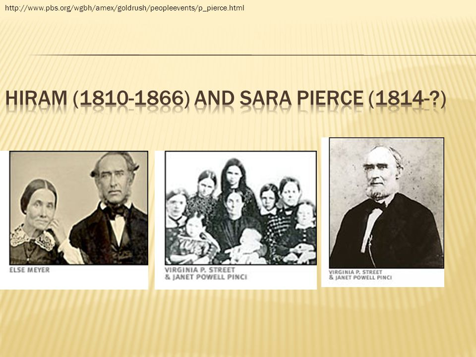 Hiram (1810-1866) and Sara Pierce (1814- )