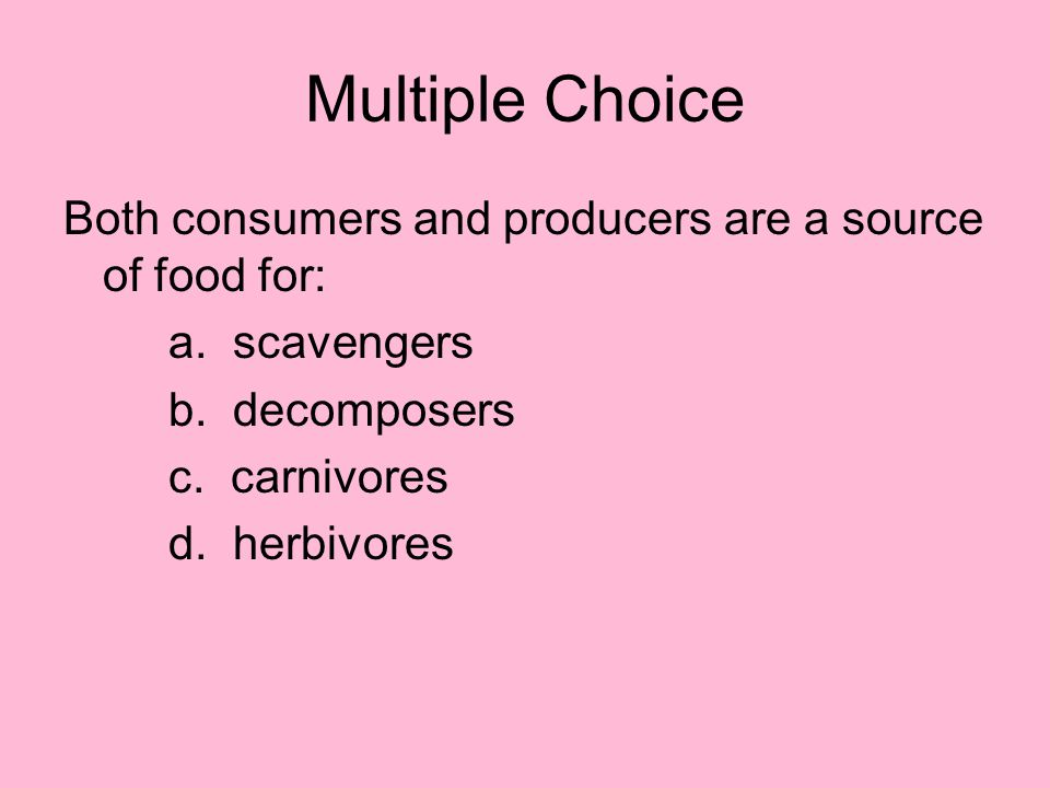 Multiple Choice Both consumers and producers are a source of food for: