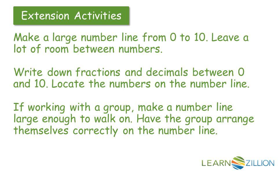 Make a large number line from 0 to 10