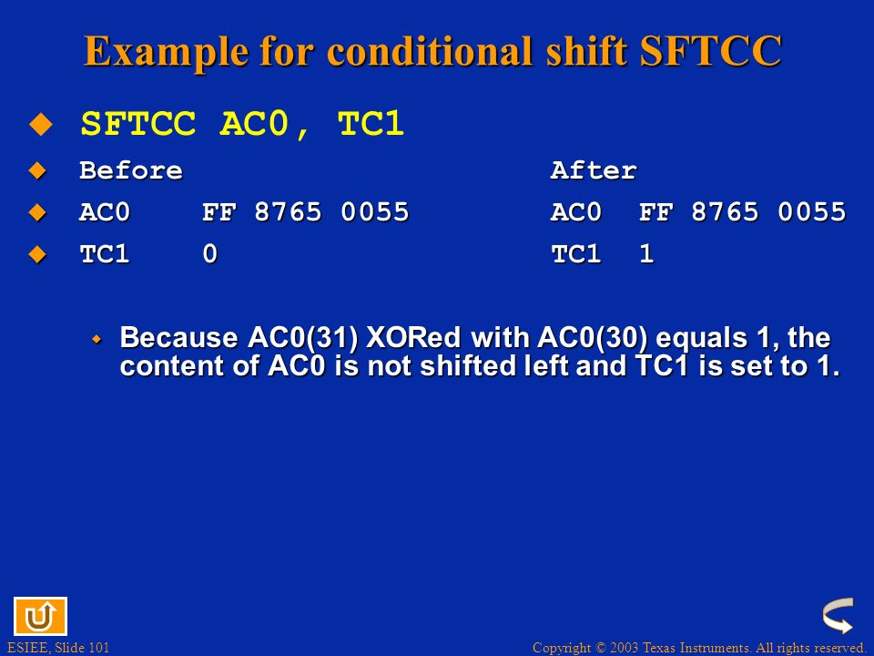Example for conditional shift SFTCC