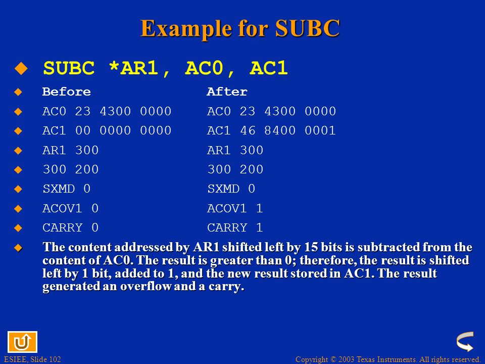 Example for SUBC SUBC *AR1, AC0, AC1 Before After
