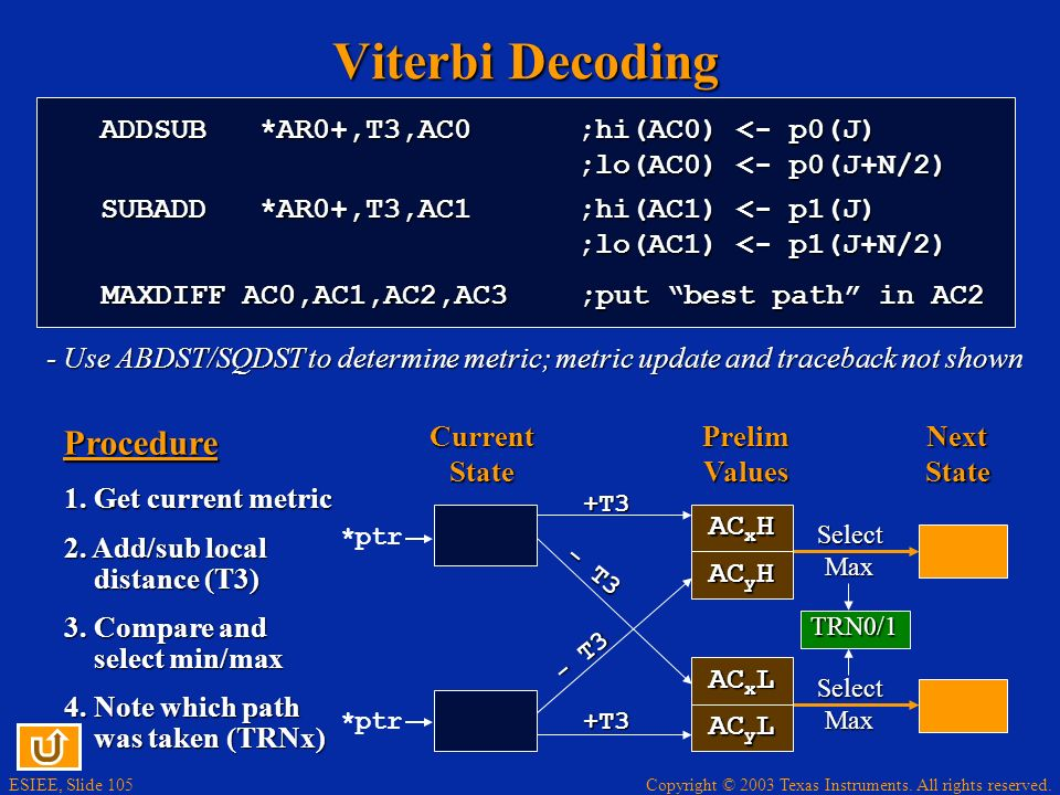 Viterbi Decoding Procedure