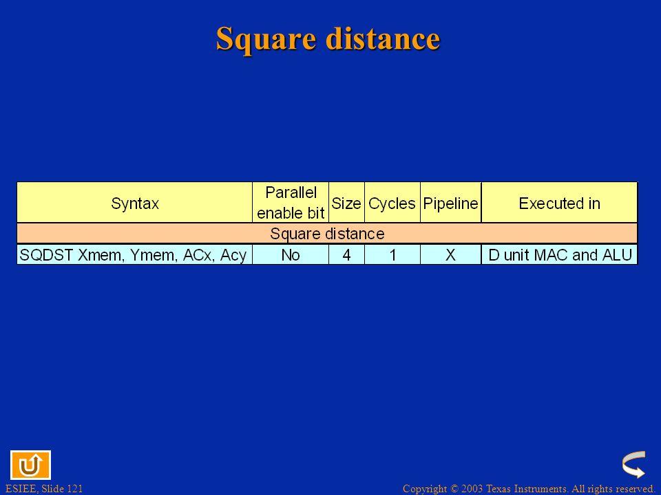 Square distance