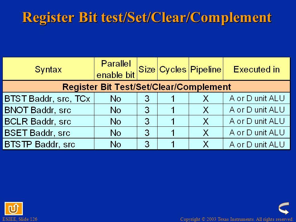 Register Bit test/Set/Clear/Complement