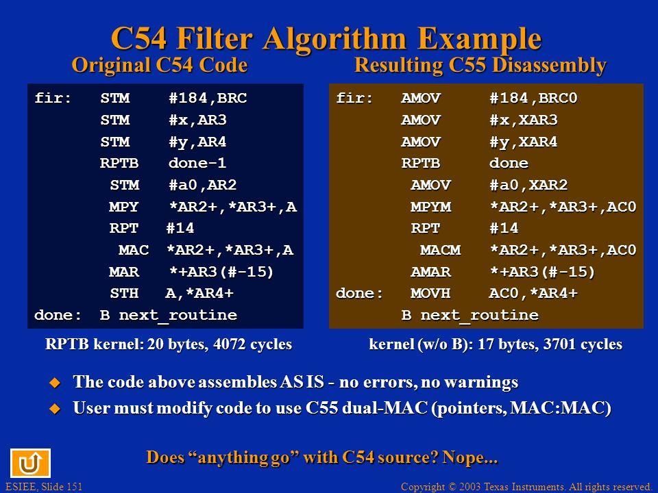 C54 Filter Algorithm Example