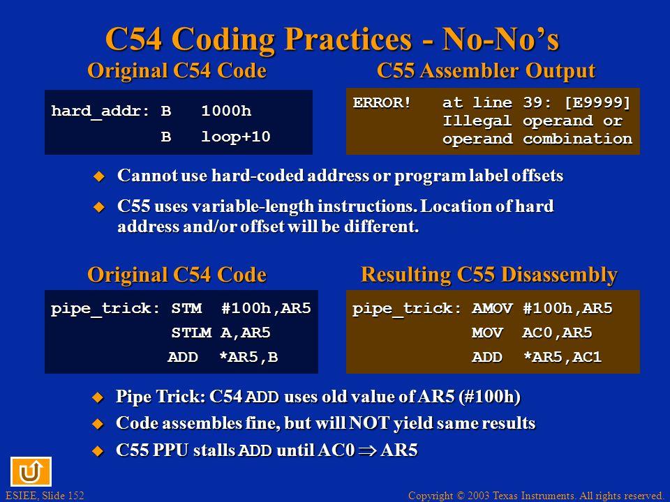 C54 Coding Practices - No-No's