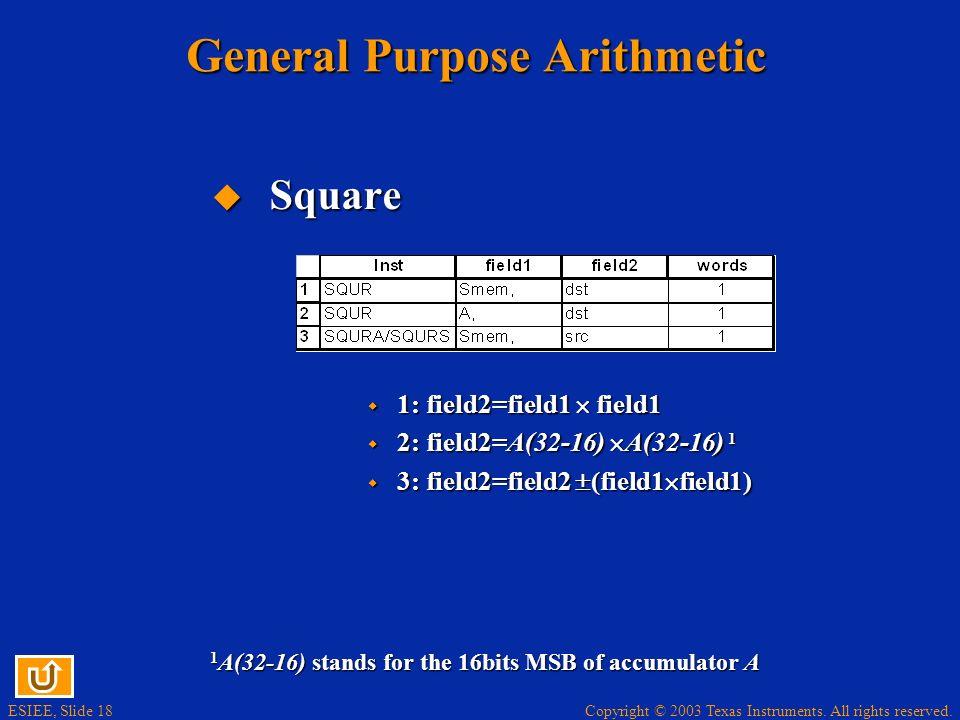 General Purpose Arithmetic