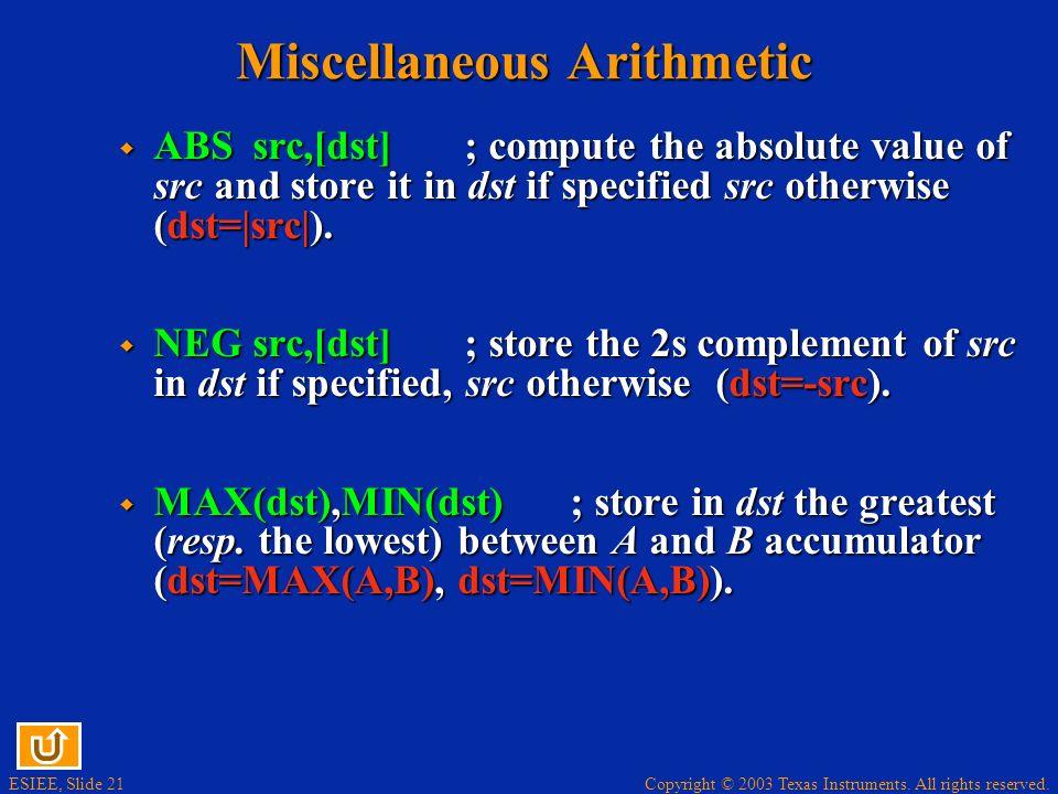 Miscellaneous Arithmetic