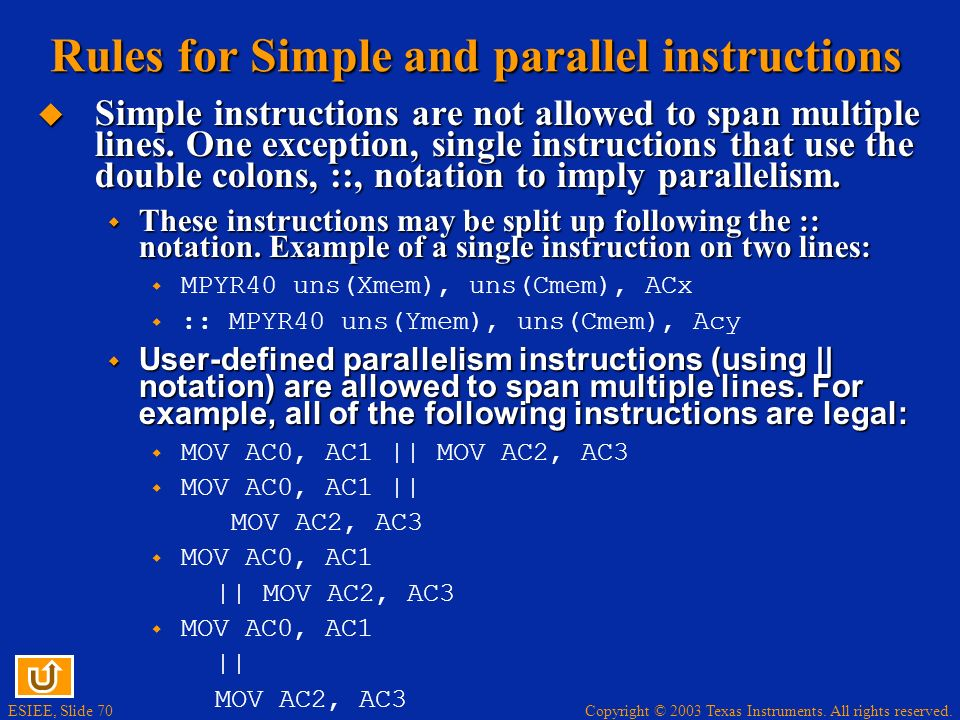 Rules for Simple and parallel instructions