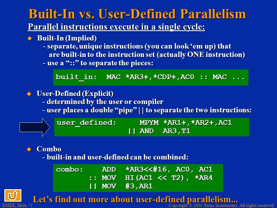 Built-In vs. User-Defined Parallelism