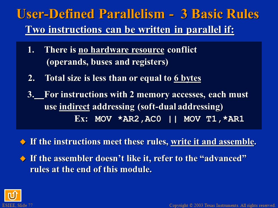User-Defined Parallelism - 3 Basic Rules