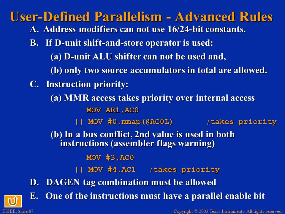 User-Defined Parallelism - Advanced Rules