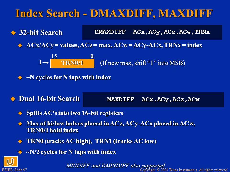 Index Search - DMAXDIFF, MAXDIFF