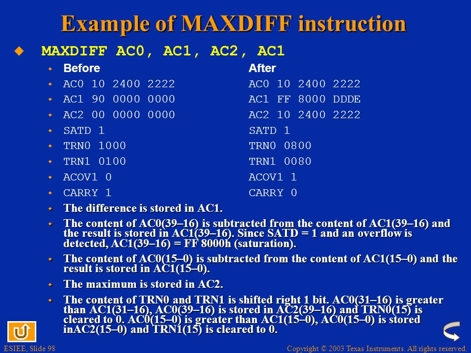 Example of MAXDIFF instruction
