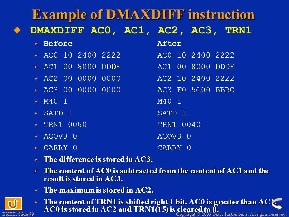 Example of DMAXDIFF instruction