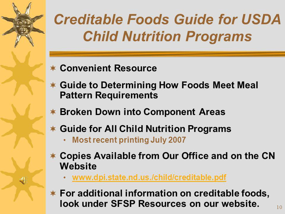 Creditable Foods Guide for USDA Child Nutrition Programs